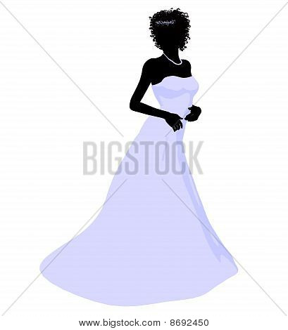 African american woman in a wedding dress silhouette illustration on a white background