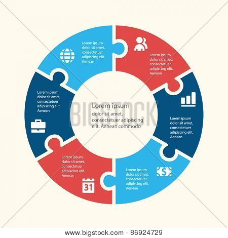 Circular infographic template for cycling diagram, graph, presentation and chart