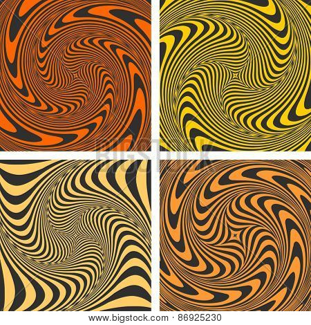 Vortex movement. Abstract designs set. Vector art.