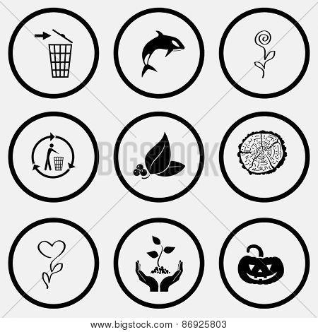 Nature set. Black and white set raster icons.