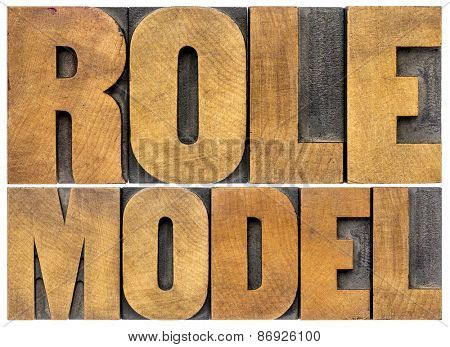 role model -  leadership concept - isolated word abstract in letterpress  wood type