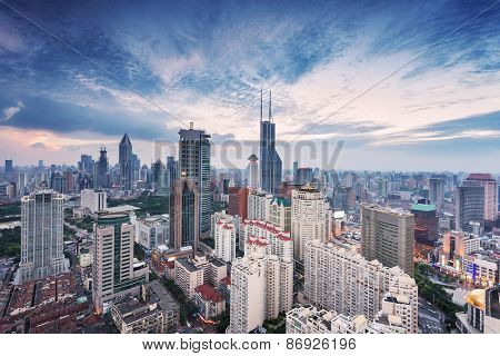 modern city skyline,traffic and cityscape in Shanghai at sunrise