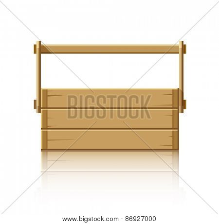 Wooden box for tools. Eps10 vector illustration. Isolated on white background