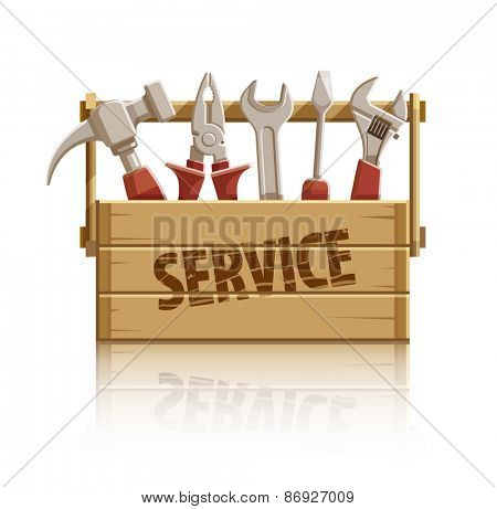 Service wooden box with construction tools. Eps10 vector illustration. Isolated on white background