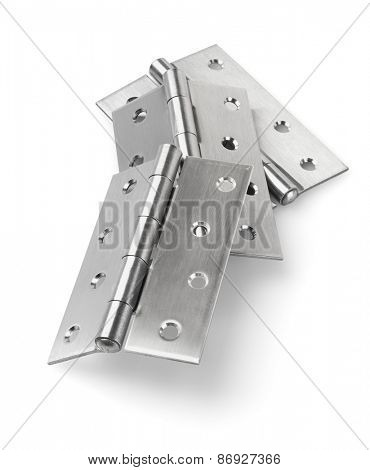 Three Pieces of Stainless Steel Door Hinges On White Background