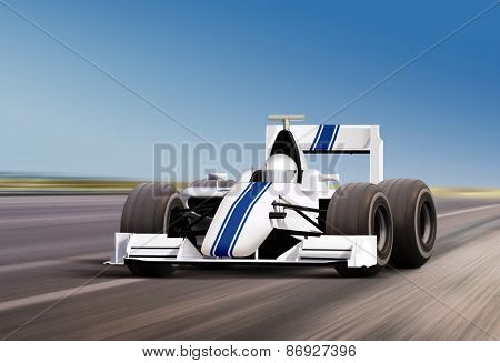 formula race car on speed track - motion blur