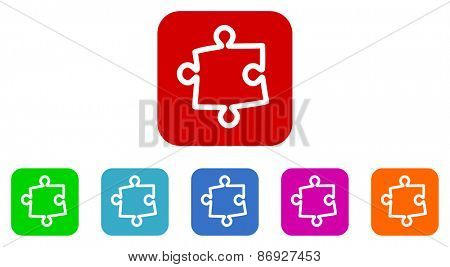 puzzle vector icons set