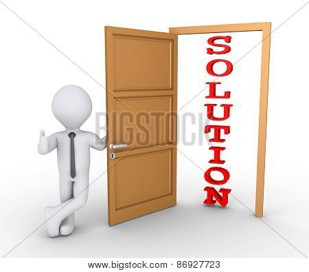 Businessman Offering Solution Through Door