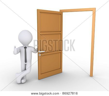 Businessman Offering Way Through Door