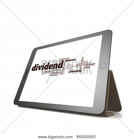 Dividend Word Cloud On Tablet