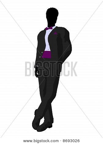 African American Wedding Groom In A Tuxedo Silhouette