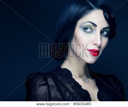 Fashion woman portrait. Vogue Style. Beauty girl with black hair.