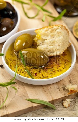 Italian food Bread with Olive Oil