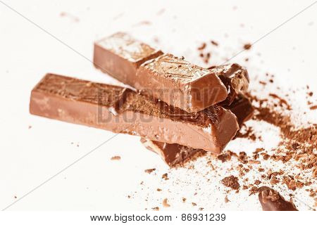 Abstract Image Of Dark Chocolate On White Background