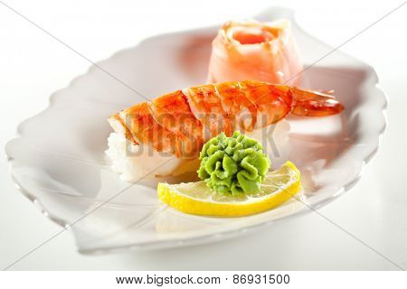 Japanese Cuisine -  Shrimp Nigiri Sushi with Ginger and Wasabi