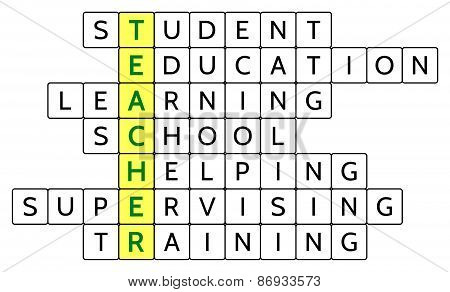 Crossword puzzle for the word Teacher and related words Student, Education, Learning, School, etc.