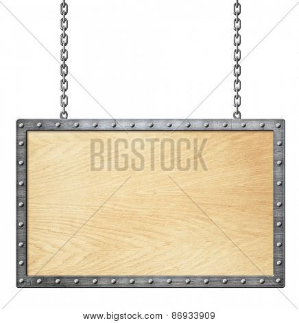 wood signboard or frame on chain isolated on white