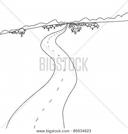 Outline Of Road To Mountains