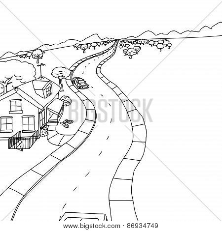 Outline Drawing Of House With Trees