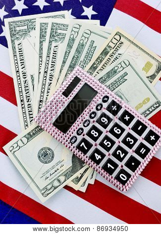 Usa Finance And Tax Concept With Flag.