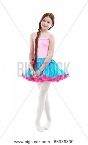 Beautiful little girl wearing cute pettiskirt, isolated on white