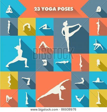 Twenty Three Yoga Poses.