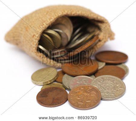 Old Coins In Sack Bag