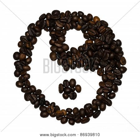 Coffee beans shaped into a yin and yang symbol