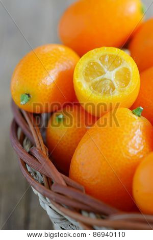 a slice kumquat in basket