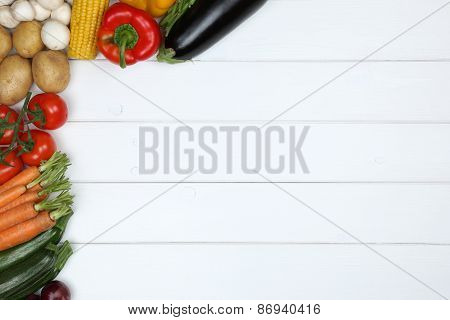 Healthy Veggie Eating Vegetables On Wooden Board With Copyspace