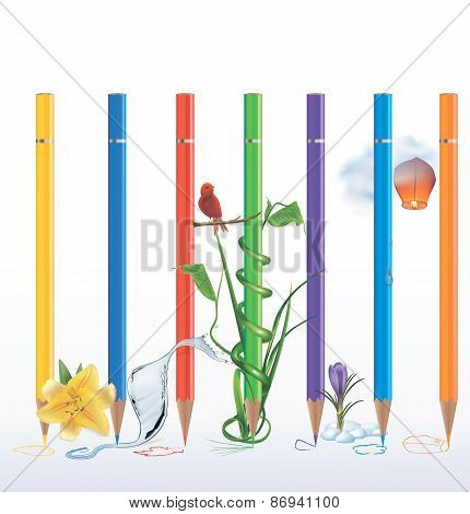 Set Of Coloured Pencils With Sketches And Pictures. Vector Illustration