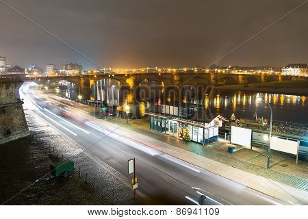 City Of Dresden In Germany At Night