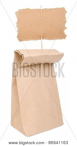 Paper bag with cardboard sign
