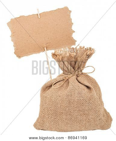 Canvas  sack with cardboard sign