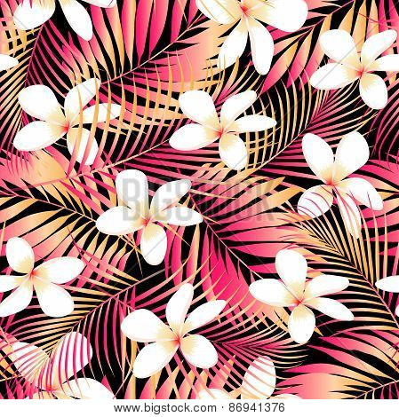 Tropical Plumeria With Red And Orange Leaves Seamless Pattern