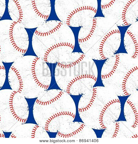 Baseballs With Distressed Texture Seamless Pattern