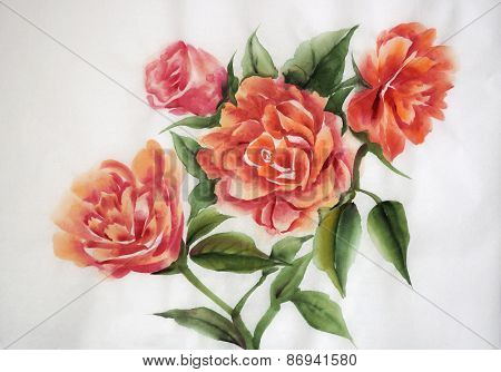 Orange Roses Watercolor Painting