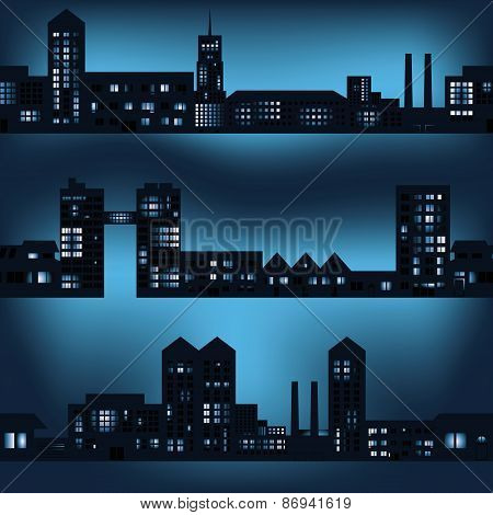 Dark City Landscapes In Night With Lights Eps10