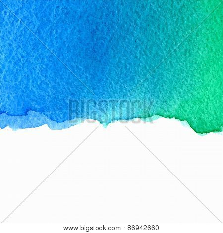 vector watercolor green and blue background