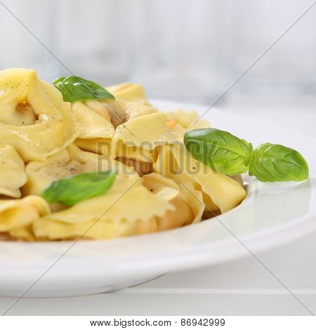 Italian Cuisine Tortellini Pasta Noodles Meal With Basil