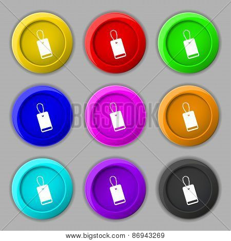 Army Chains Icon Sign. Symbol On Nine Round Colourful Buttons. Vector