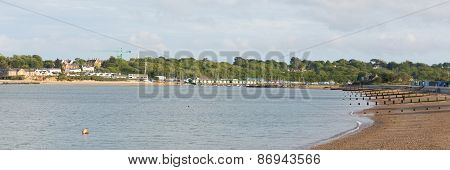View from Nodes Point St Helens Isle of Wight to Bembridge harbour panorama