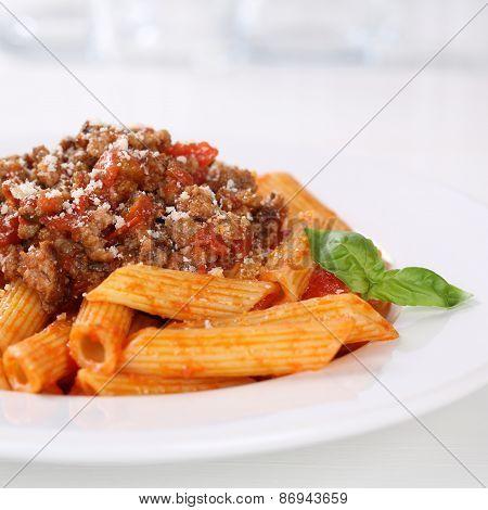 Italian Cuisine Pasta Bolognese Or Bolognaise Sauce Noodles Meal