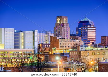 Durham, North Carolina, USA downtown city skyline.