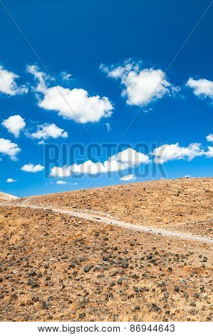 Desert Land And Blue Sky
