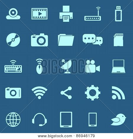 Hi-tech Color Icons On Blue Background