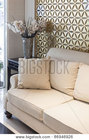 Interior Living Room Sofa with Pillows and Flower
