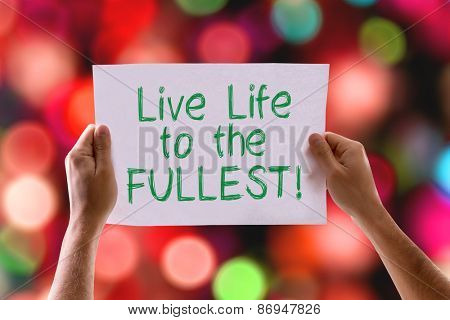 Live Life to the Fullest card with bokeh background