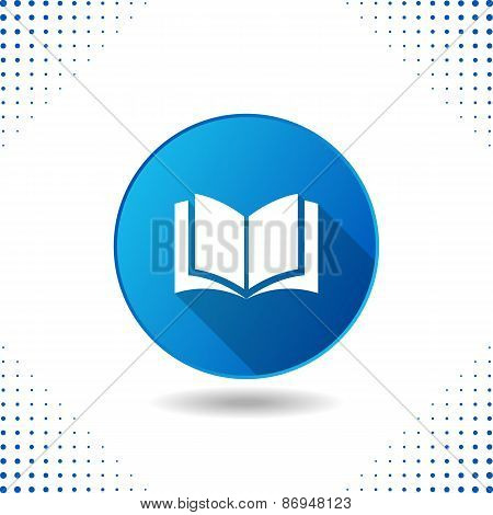 Book Icon On Blue Button