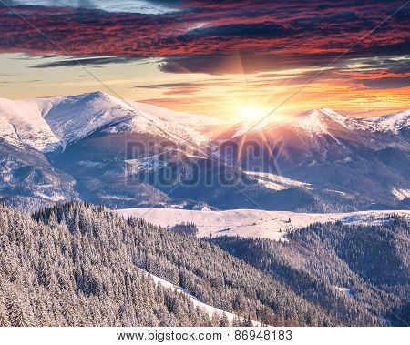 Winter Alpine Sunrise In The Mountains With Dramatic Sky